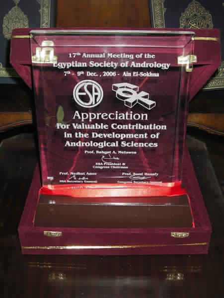 تكريم الجمعية المصرية للذكورة للبروفيسور شعير عن إنجازاته العلمية